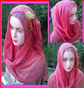Grosir Jilbab Hana Glitter Rajut Bunga