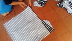 Proses pemotongan serabut benang kain