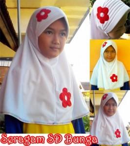 Jilbab Bergo Seragam SD Bunga