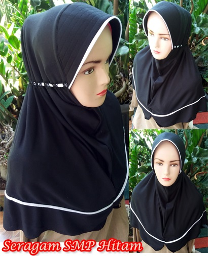 Grosir Jilbab Seragam sekolah SMP Hitam SG jilbab
