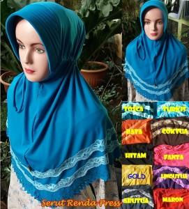 Hijab Serut Renda Press