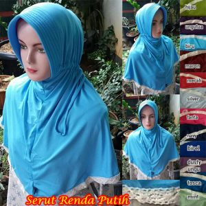 Hijab Serut Renda Putih