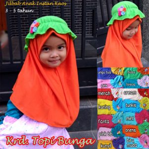 Jilbab Anak Topi Bunga