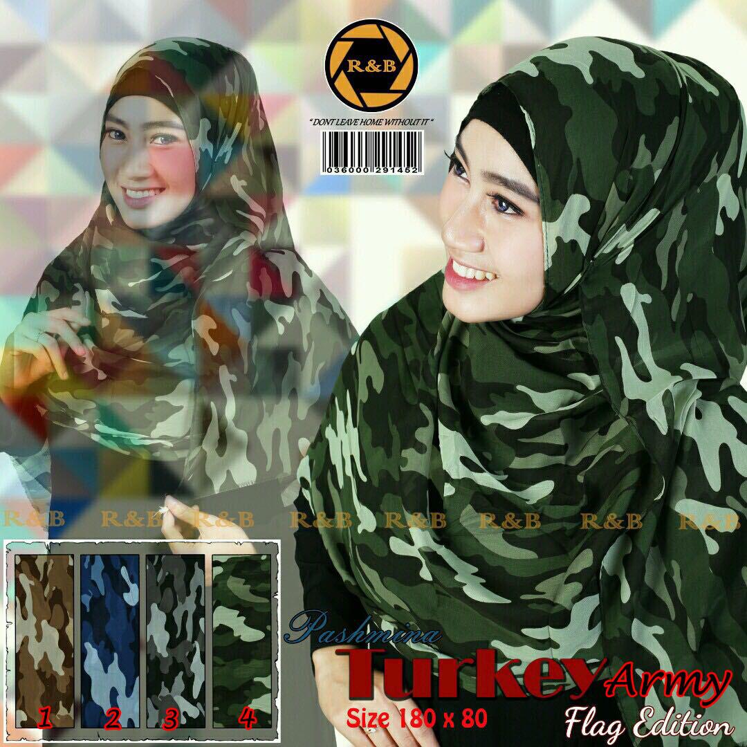 Pashmina Lamiz 30 33 45 540 Army SG Jilbab
