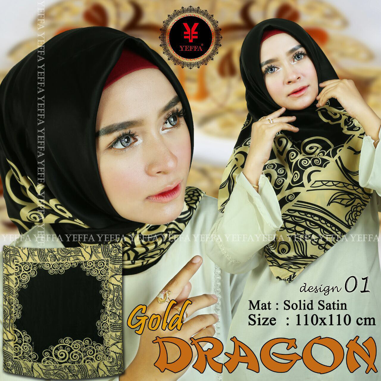 Gold Dragon 01 SG Jilbab by YEFFA