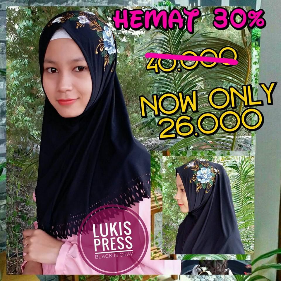 Lukis Press Sale Black n Gray SG Jilbab