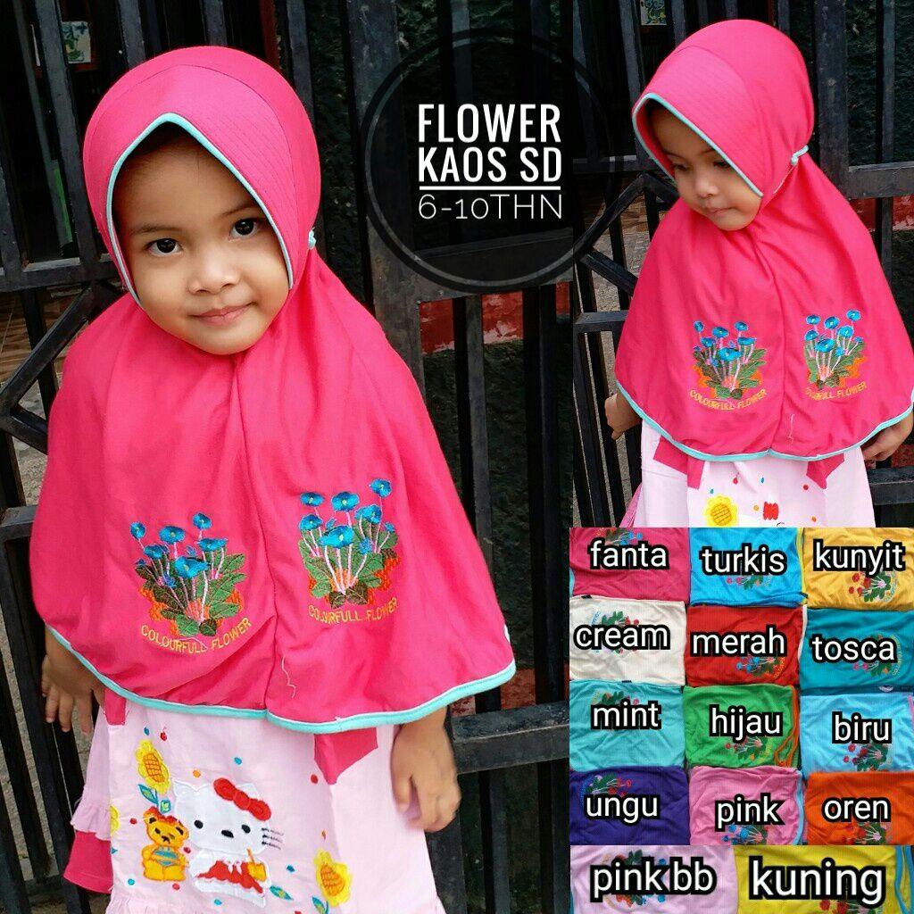 Flower Kaos SD SG Jilbab
