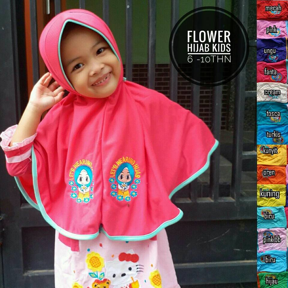 Flower Hijab Kids SD SG Jilbab