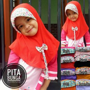 Jilbab Anak Pita Bunga Kombinasi