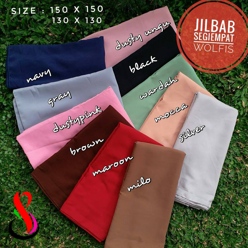 Jilbab Segiempat Wolfis Jumbo (45 48 60 840) & Standar (40 43 55 730)