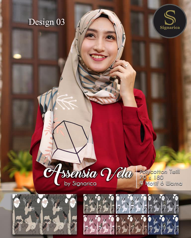 Pashmina Assensia Vela 27 30 40 490 by Signarica SG Jilbab Design 03