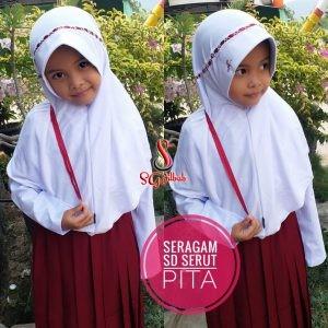 Jilbab Seragam SD Serut Pita