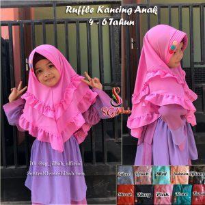 Khimar Ruffle Kancing Anak