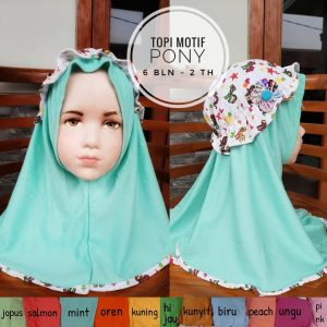 Jilbab Bayi Topi Motif Pony