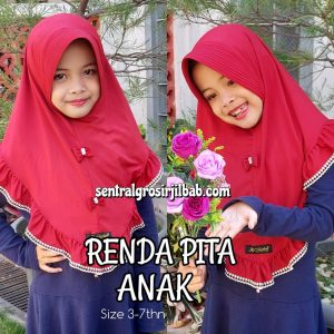 Jilbab Renda Pita Anak.
