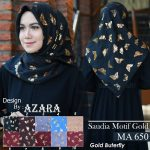 Saudia Motif Gold Gold Buterfly 25 28 35 450 SG Jilbab