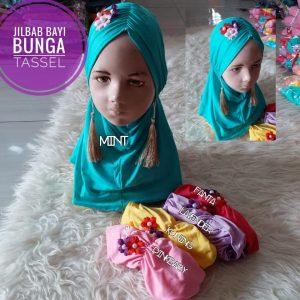 Jilbab Bayi Bunga Tassel.